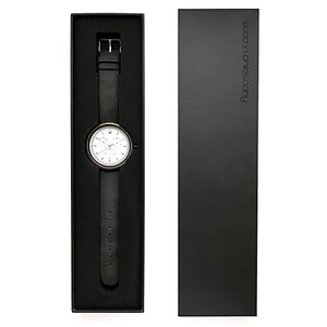Wooden Watch With Leather Band Black Gift Box - The Whitehaven Minimalist Wood Watch Packaging