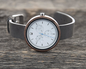 Minimalist Watch Bauhaus Style - The Whitehaven Wood Watch Leather Band Cover