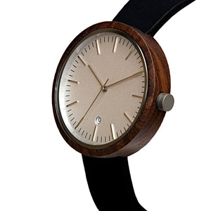 Black Walnut Original Wood Watch White Minimalist Classic Watch - The Cypress Side View