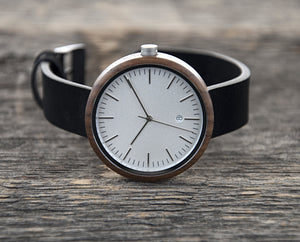 Black Walnutwood Watch White Classic Wood Watch Wooden Watch with Leather Band - The Cypress Cover