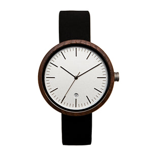 Black Walnutwood Watch White Wooden Watch with Leather Band - The Cypress Front View