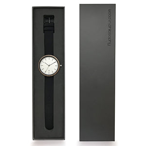 Wood Watch With Leather Band Black Gift Box - The Cypress Minimalist Wood Watch