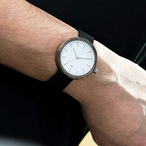 Wood and Leather Watch White Dial Minimalist Watch Swiss Movement - The Cypress Wood Watch on Wrist