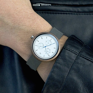 Minimalist Watch Bauhaus Style White Dial Watch Blue Second Hand Walnutwood - The Whitehaven Wood and Leather Watch on Wrist
