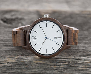 Minimalist Watch - The Seljalandsfoss Black Walnutwood White Dial Watch Cover