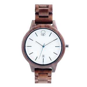 Minimalist Watch - The Seljalandsfoss Black Walnut Wood Watch White Dial Front View