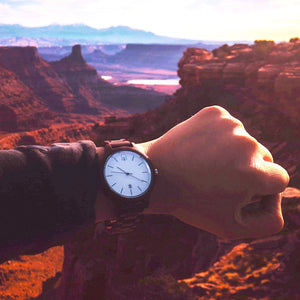 Minimalist Swiss Watch White Dial Walnutwood - The Seljalandsfoss Wood Watch Zion National Park