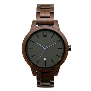 Dark Sandalwood Slate Watch Minimalist Wood Watch Swiss Movement Sapphire Glass - The Snoqualmie Front View