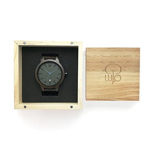 Wood Watch Box Gift - The Snoqualmie Minimalist Dark Sandalwood Slate Watch Swiss Movement Packaging