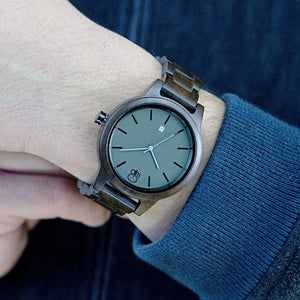Minimalist Watch Slate Dial Blue Hands Dark Sandalwood - The Snoqualmie Swiss Watch Wrist Shot