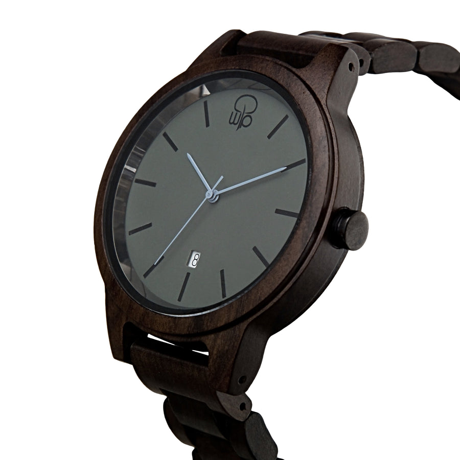Minimalist Watch Dark Sandalwood and Slate - The Snoqualmie Wood Watch Front View