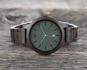Minimalist Watch - The Snoqualmie Dark Sandalwood Watch Slate Cover