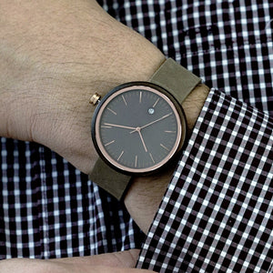 Rose Gold Watch Minimalist Wood and Leather Watch - The Peak Dark Sandalwood Watch on Wrist