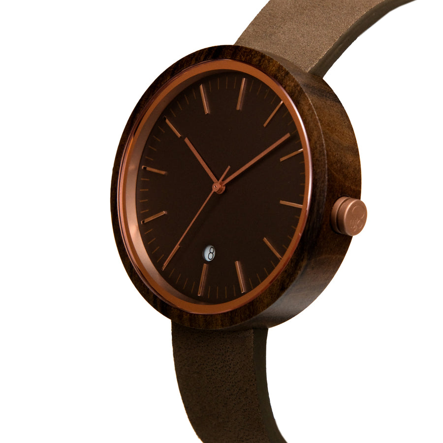 Dark Sandalwood Watch Classic Rose Gold Watch Womens Wooden Watch with Leather Band - The Peak Front View