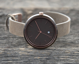 Rose Gold Watch - The Peak  Dark Sandalwood Watch Leather Band Cover