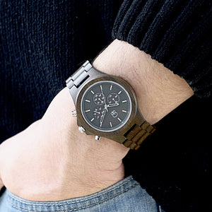 Wooden Watches For Men Dark Sandalwood - The Narrows Wooden Chronograph Wrist Shot