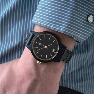 Minimalist Watch Ebony 18K Gold Watch All Wood Black Swiss Watch - The Havasu Wood Watch on Wrist