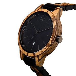 Ebony and Zebrawood Minimalist Wooden Watch 2 Tone Swiss Wood Watch - The Niagara Side View