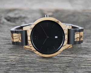 Ebony and Zebrawood 2 Tone Wood Watch Minimalist Swiss Movement Watch - The Niagara Cover