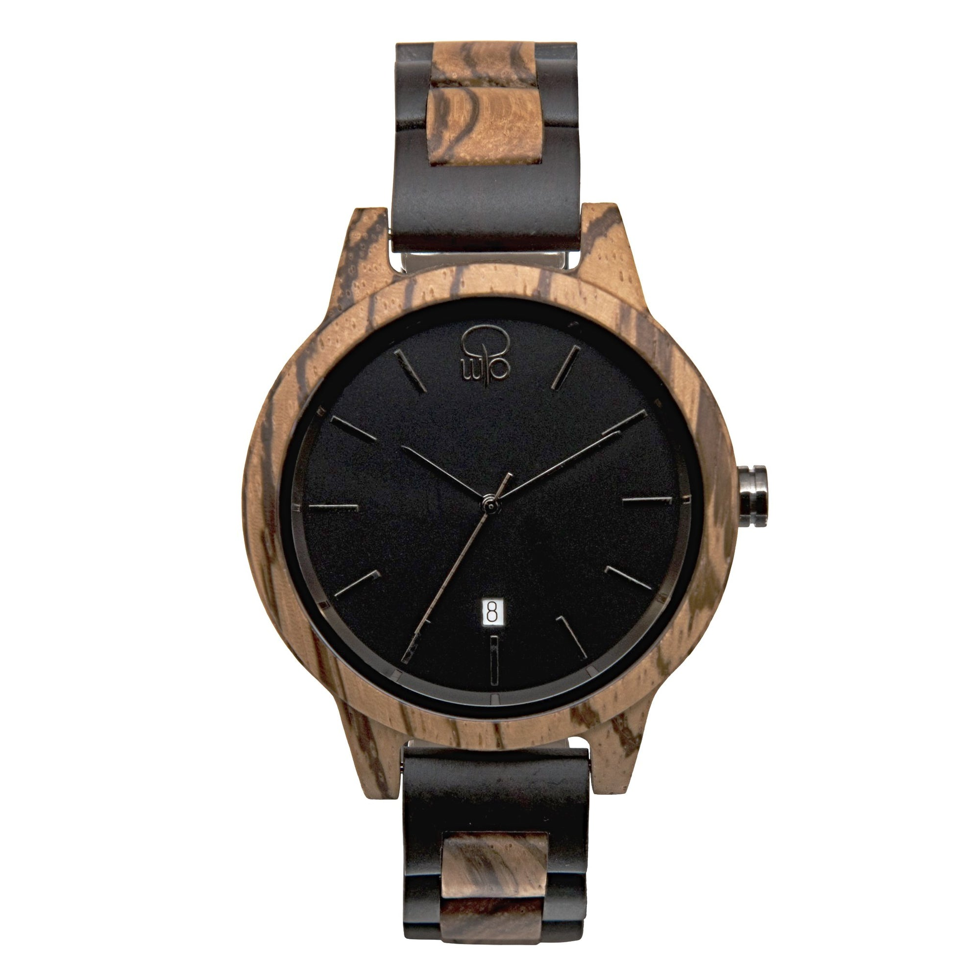 Wood Watch Ebony and Zebrawood - The Niagara Front View