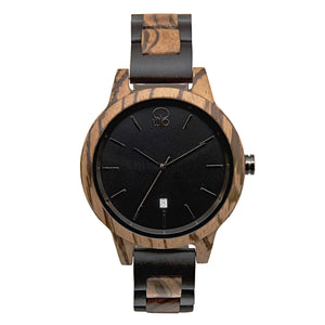 Ebony and Zebrawood Watch 2 Tone Wood Watch Minimalist Swiss Movement Chrome - The Niagara Front View