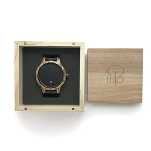 Wood Watch Box Gift - The Niagara Minimalist Wood Watch 2 Tone Zebrawood and Ebony Swiss Movement Packaging