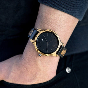 Minimalist Watch Ebony and Zebrawood Watch Sapphire Glass - The Niagara Swiss Watch on Wrist