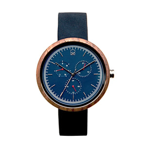 Bauhaus style watch - The Dean Minimalist Blue Watch Front View