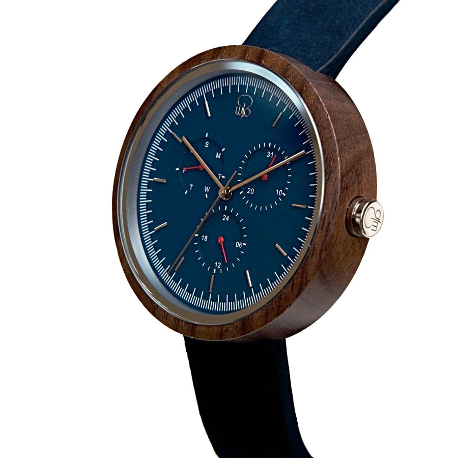 Black Walnutwood Blue Minimalist Bauhaus Style Watch Wood Multifunction Watch - The Dean Front View