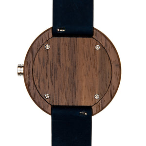 Black Walnutwood Minimalist Chronograph Wooden Watch Leather Band - The Dean Back View