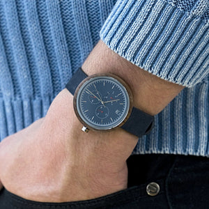 Minimalist Blue Dial Watch Walnut Wood and Leather Band Watch - The Dean Wood Watch Wrist Shot