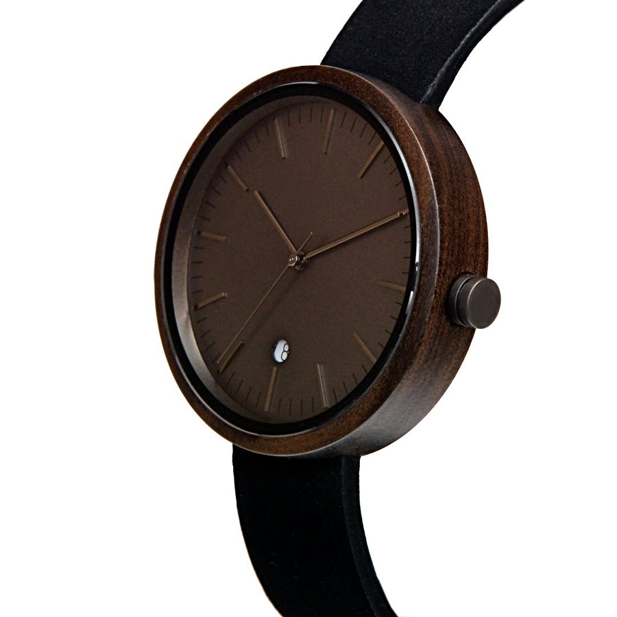 Dark Sandalwood Watch Gun Metal Wooden Watch with Leather Band Swiss Movement Monochrome - The Hawk Front View