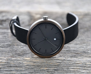Minimalist Watch -  The Hawk Gun Metal Wood Watch Cover
