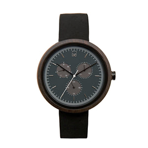Minimalist Bauhaus Style Watch Dark Sandalwood Wooden Monochrome Watch  Mens - The Reine Front View