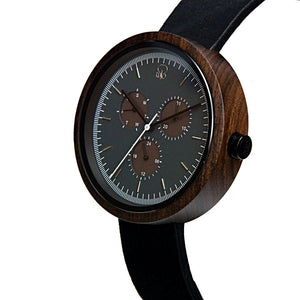 Dark Sandalwood Minimalist Wood Watch Monochrome Bauhaus Style Wooden Watch with Leather Band  Mens - The Reine Front View