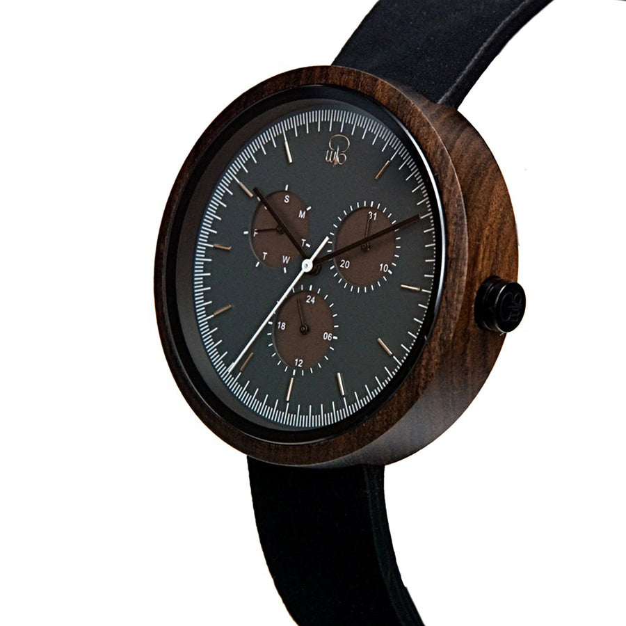 Minimalist Watch Monochrome - The Reine Bauhaus Style Watch Wood Leather Band Front View By Wood In Philosophy