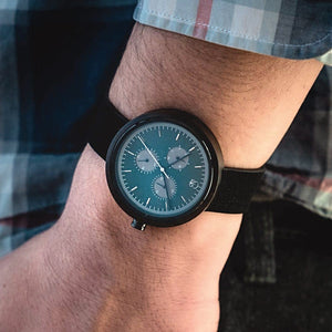 Minimalist Watch Wooden Watches for Men Bahaus Watch Made From Wood Dark Sandalwood - The Reine Dark Sandalwood Watch Wrist Shot By Wood In Philosophy