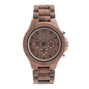 Walnutwood Chrono Wooden Watch Mens - The West Coaster Front View