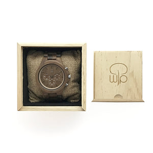Wood Watch Box Gift - The West Coaster Chronograph Walnutwood Watch Packaging