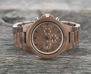Walnutwood Watch Mens Wooden Watch Chronograph - The West Coaster Cover