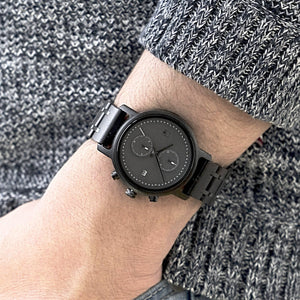 Ebony Black Minimalist Chronograph Monochrome Steel and Wood Watch - The Bowen Wood Watch on Wrist