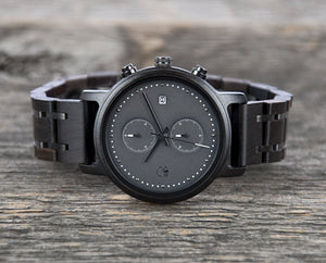 Minimalist Watch Black Chronograph  - The Bowen Wood and Metal Watch Cover