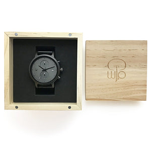 Wood Watch Box Gift - The Bowen Minimalist Watch Black Chronograph Packaging