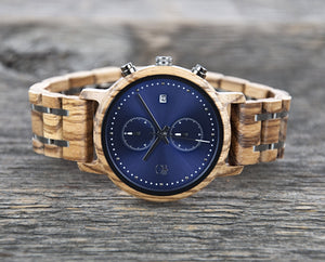 Duo Sub-Dial Chronograph Wood Watch Zebrawood and Steel Wood Watch Marine Blue Face Watch - The McWay Cover