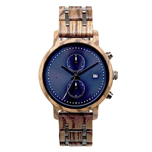 Wooden Watch For Men Marine Chronograph - The McWay Zebrawood and Steel Front View