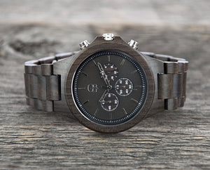Engraved Watches for Men Dark Sandalwood Chronograph