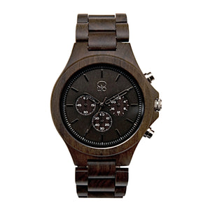Wooden Watches for Men - The Narrows Dark Sandalwood Chronograph Front View