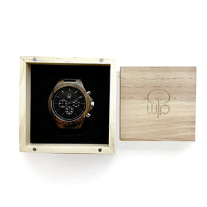 Wood Watch Box Gift For Men - The Narrows Chronograph Wood Watch Packaging