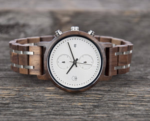 The Tsusiat || Black Walnut + Frost Chronograph Wooden Watch