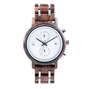 Minimalist Watch Black Walnut Wood Chronograph - The Tsusiat Wood and Steel Watch for Men Front View